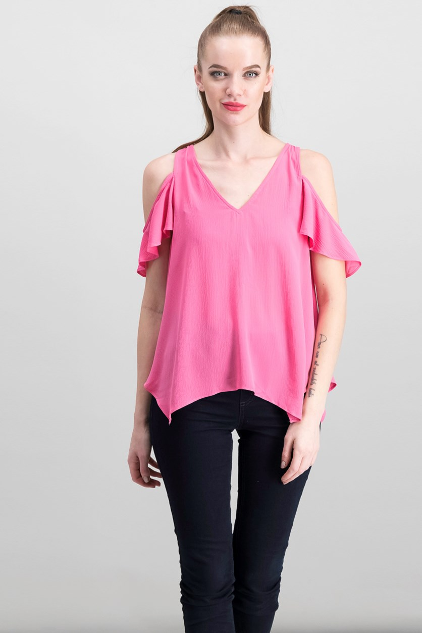 Women's V-Neck Top, Pink