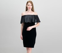 Adrianna Papell Velvet Off-The-Shoulder Dress, Black