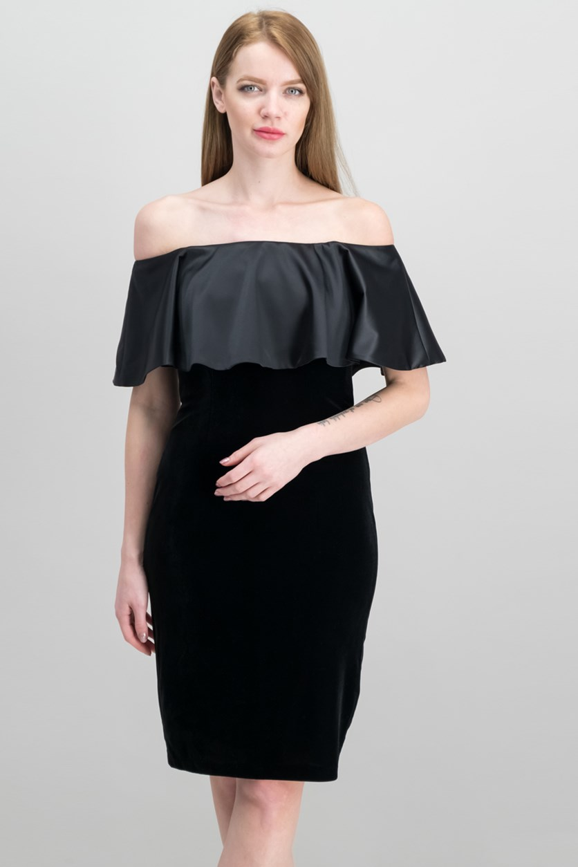 Velvet Off-The-Shoulder Dress, Black