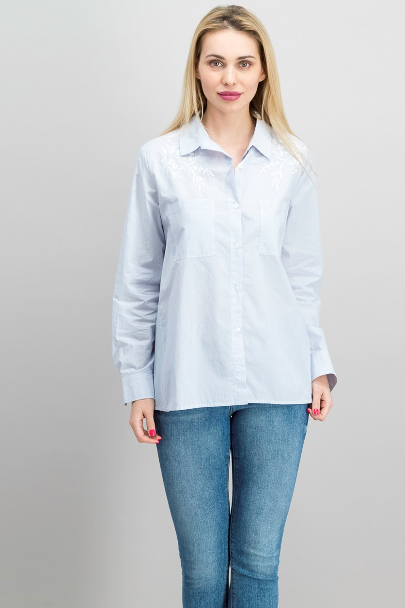 Cotton Embroidered Utility Shirt, Med Blue