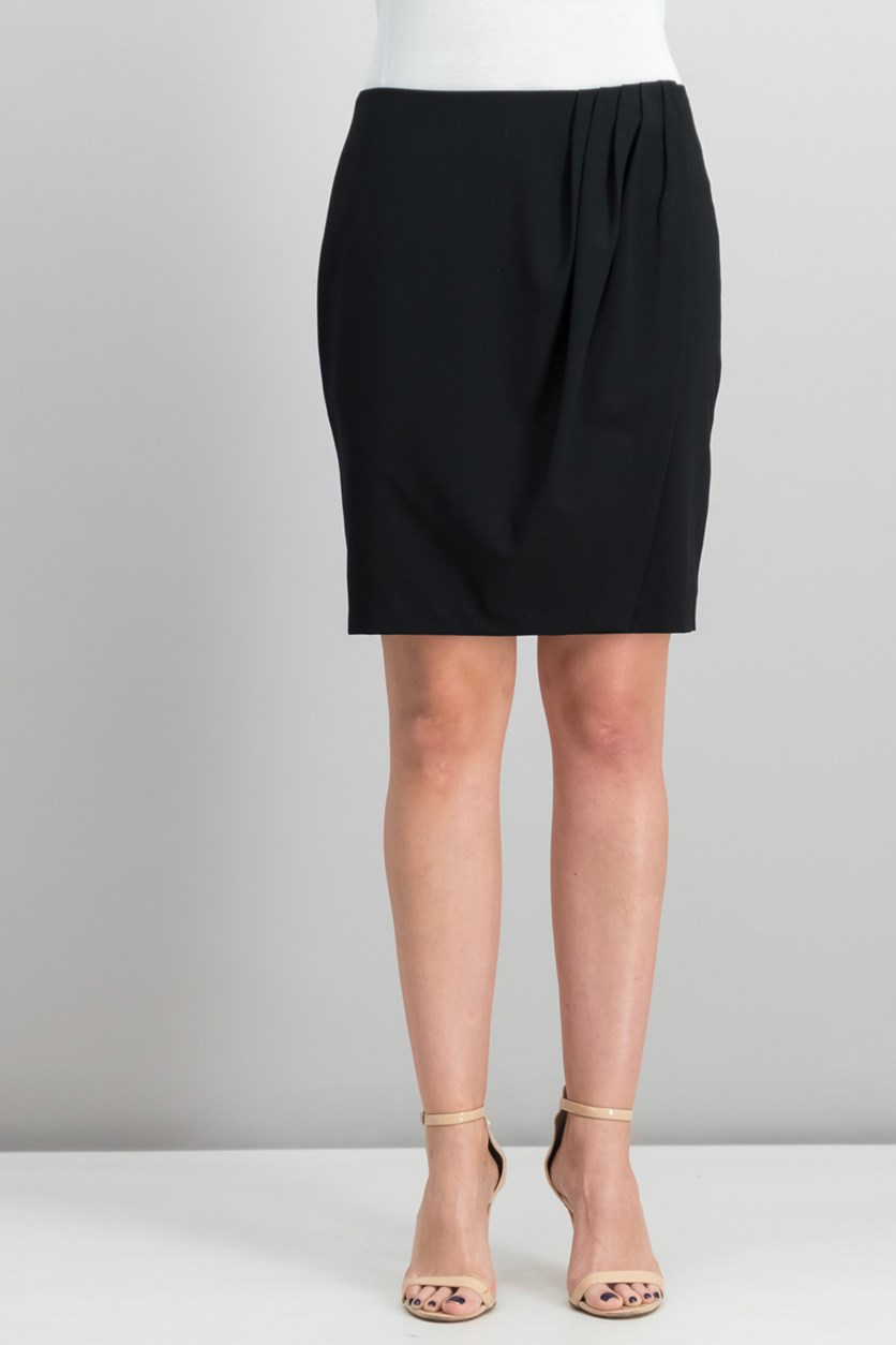 Pleated Wrap Skirt, Black