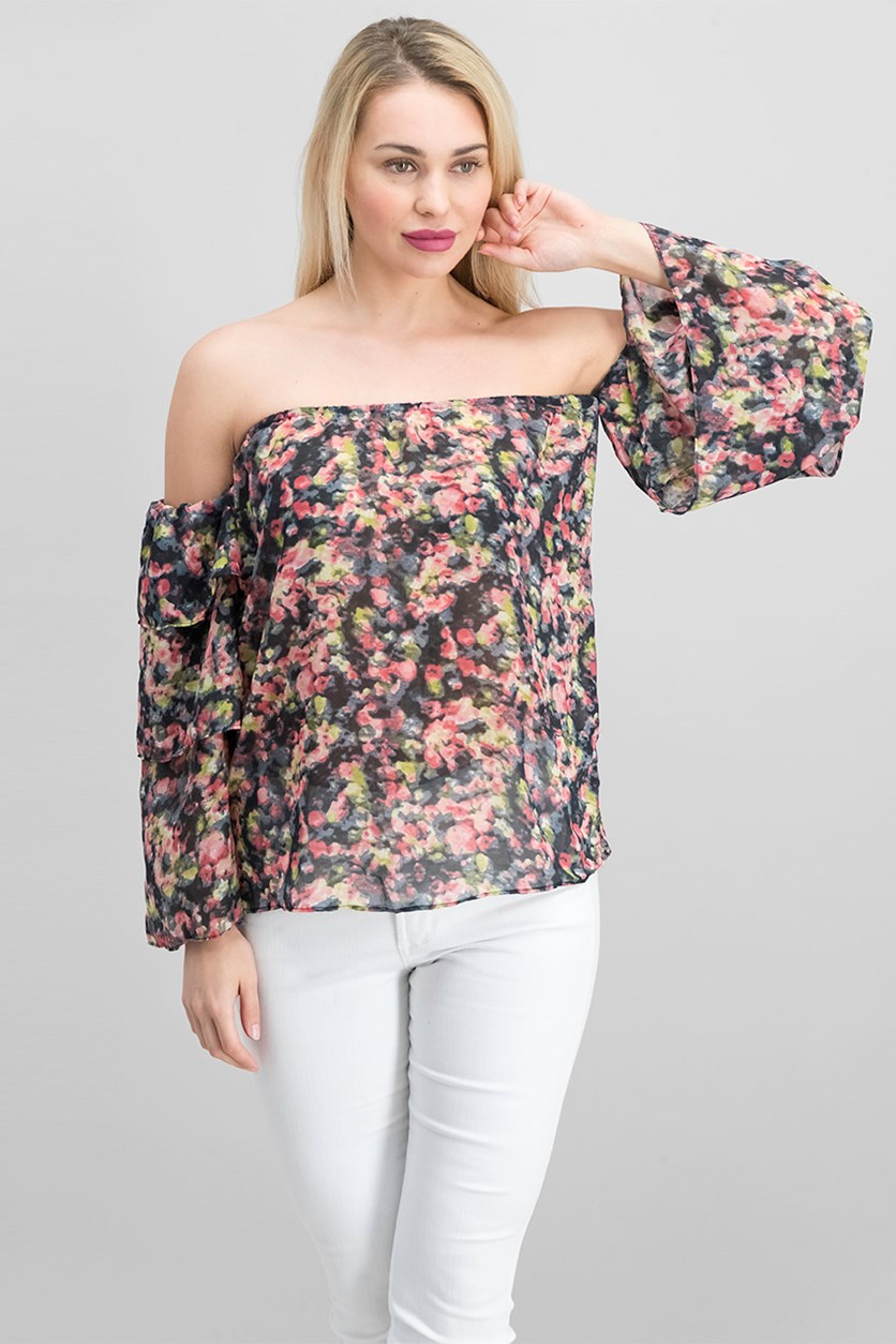 Womens Patrick Top, Water Flower