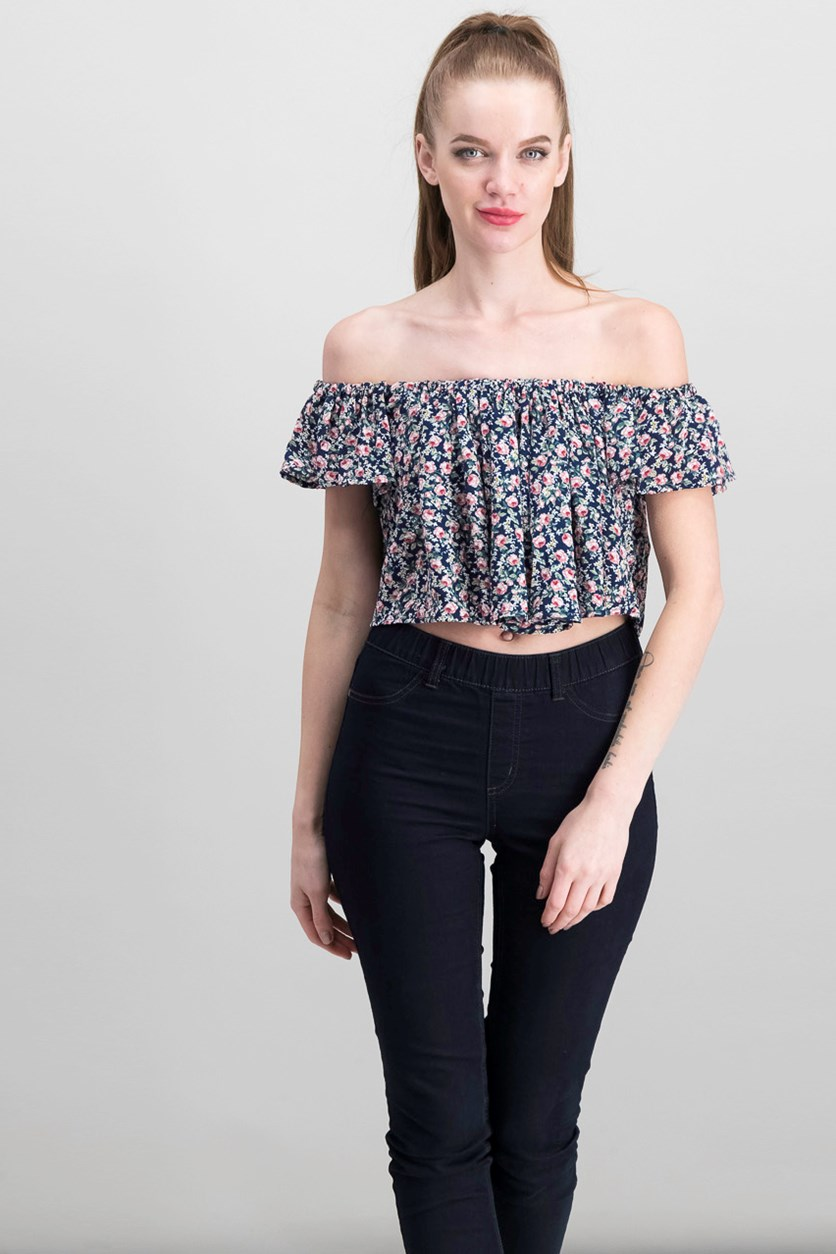 Georgette Floral Print Crop Top Blouse, Navy Combo