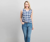 PPLA Women's Check Sleeveless Top, Navy Gingham
