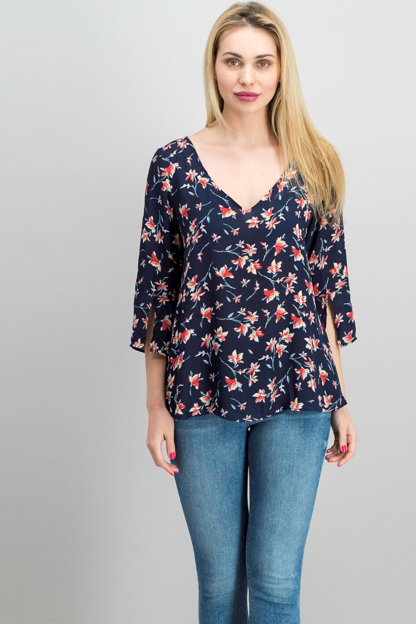Floral Print Tie Back Top, Navy Combo