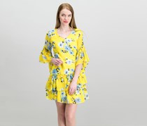 The Edit By Seventeen Juniors Printed Wrap Dress, Yellow combo