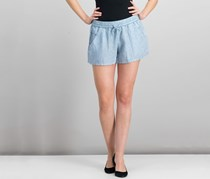 French Connection Chambray Drawstring Short, Pale Blue