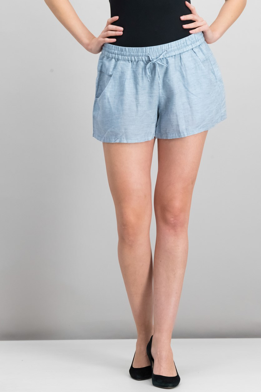 Chambray Drawstring Short, Pale Blue