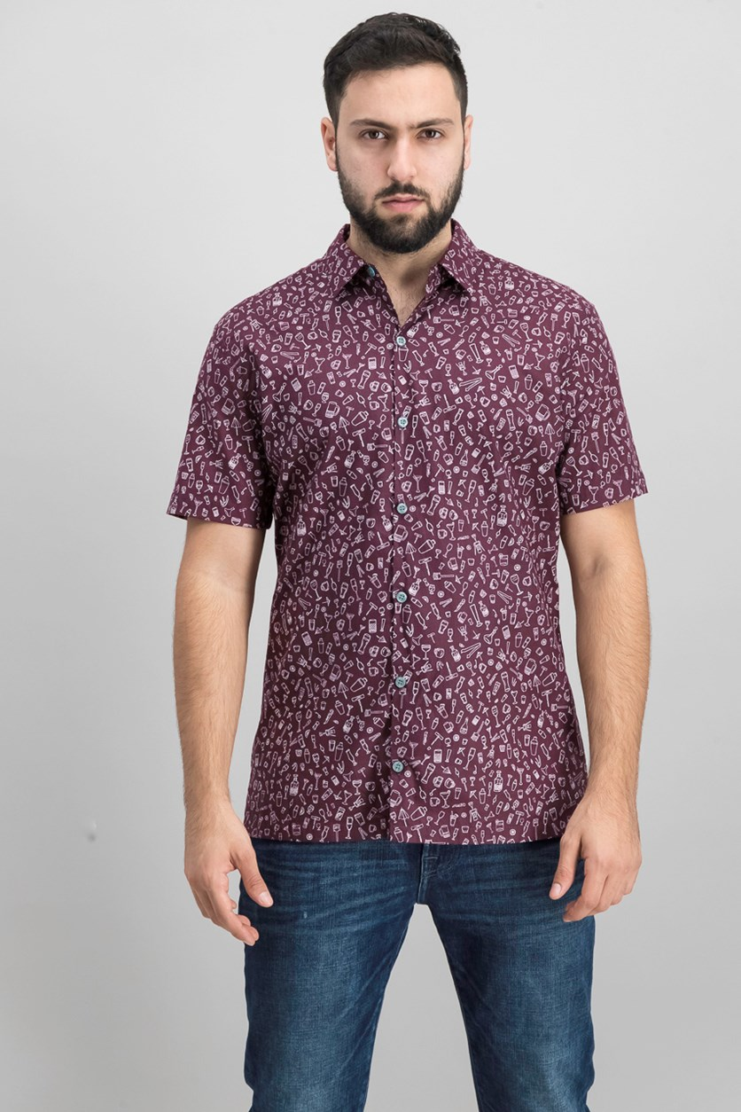 Men's Graphic Shirt, Burgundy