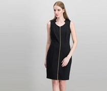 Calvin Klein Zip Front Sheath Dress, Black