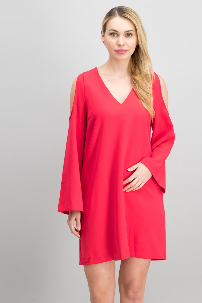 Cold-Shoulder Shift Dress, Cherry Pop