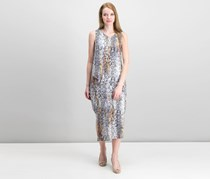 Rachel Roy Draped Asymmetrical Snake Print Dress, Grey Combo