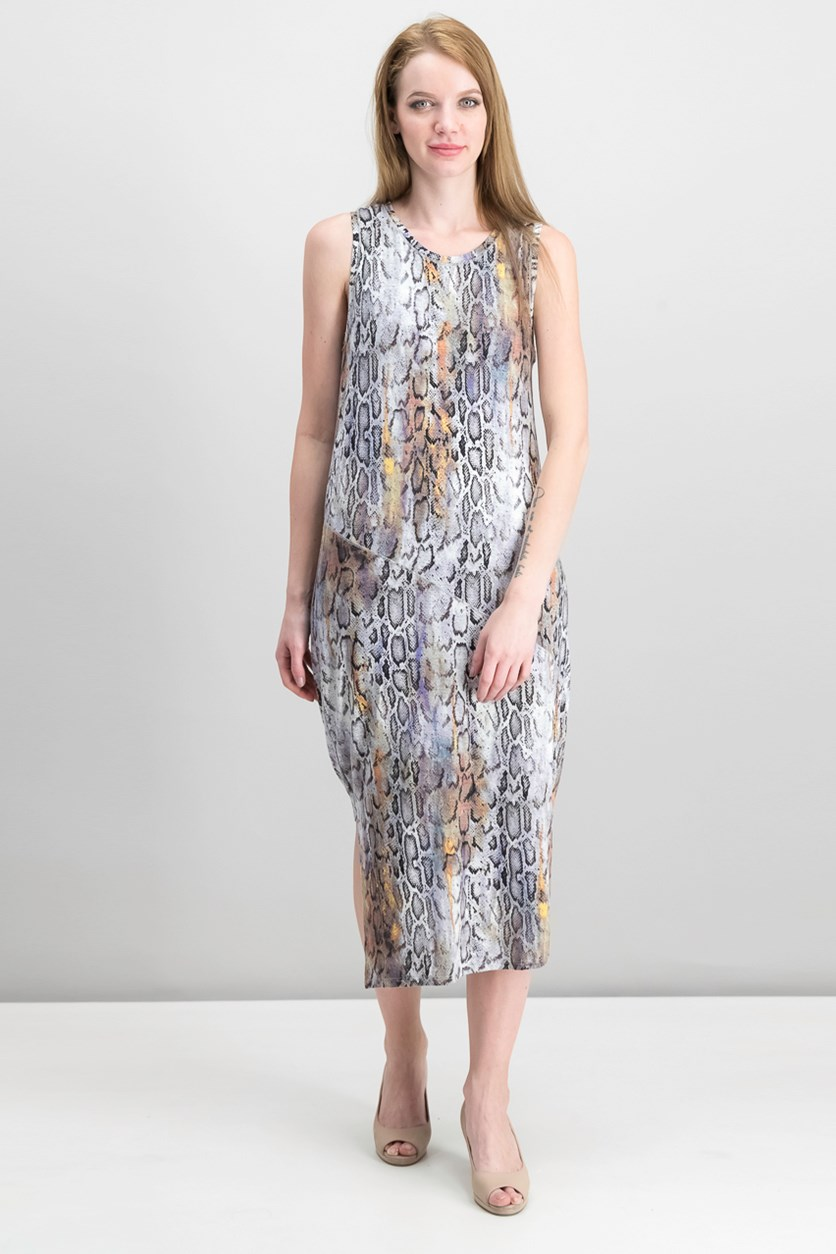 Draped Asymmetrical Snake Print Dress, Grey Combo