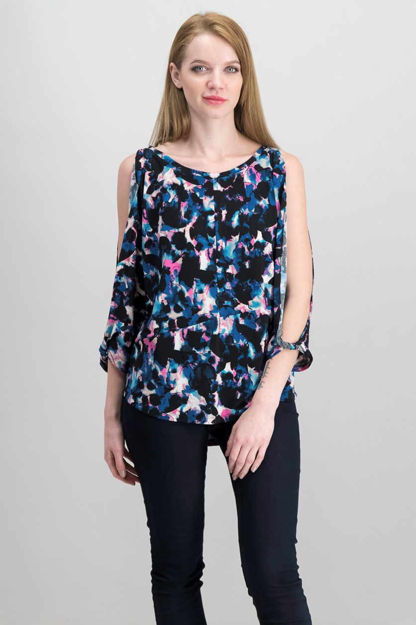 Split-Sleeve Top, Painted Petals