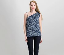 Rachel Roy Floral-Print One-Shoulder Top, Navy Combo