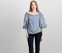 Rachel Roy Off-The-Shoulder Ruffled Top, True Navy Combo