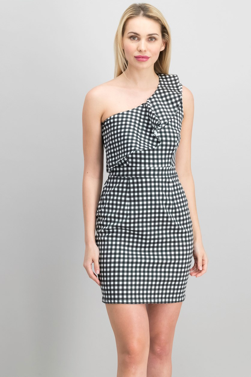 Ruffled One-Shoulder Dress, Gingham