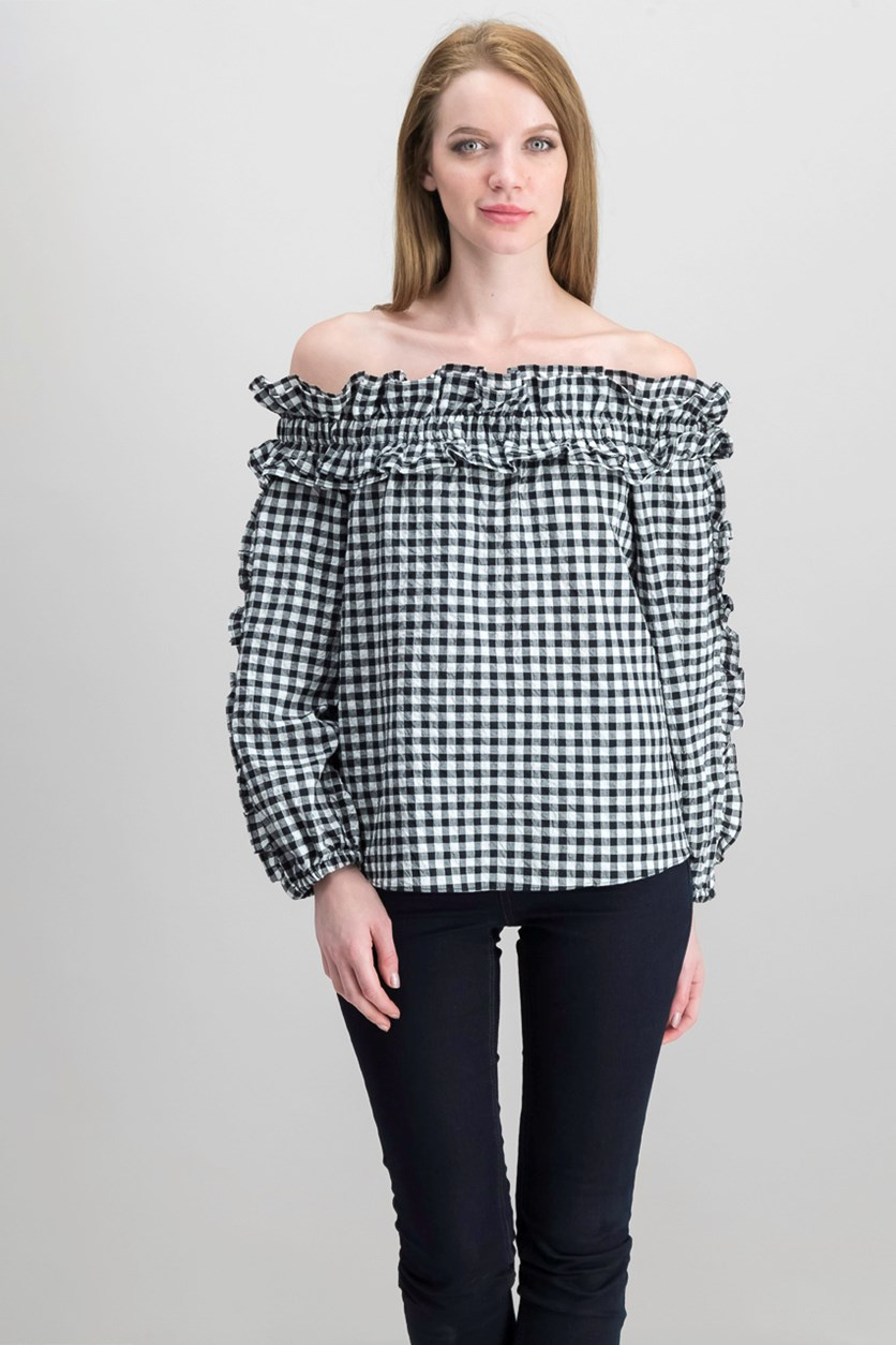 Ava Ruffled Off-The-Shoulder Top, Black/White