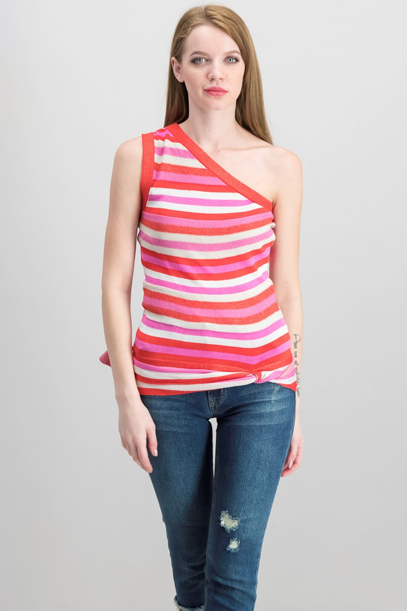 Striped One-Shoulder Top, Radiant Red Combo