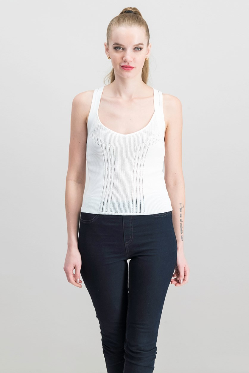 Strappy Open-Knit Top, True White