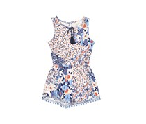 Copper Key Kids GIrl's Floral Print Romper, Ivory Combo