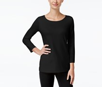 Charter Club Three-Quarter-Sleeve Top, Deep Black
