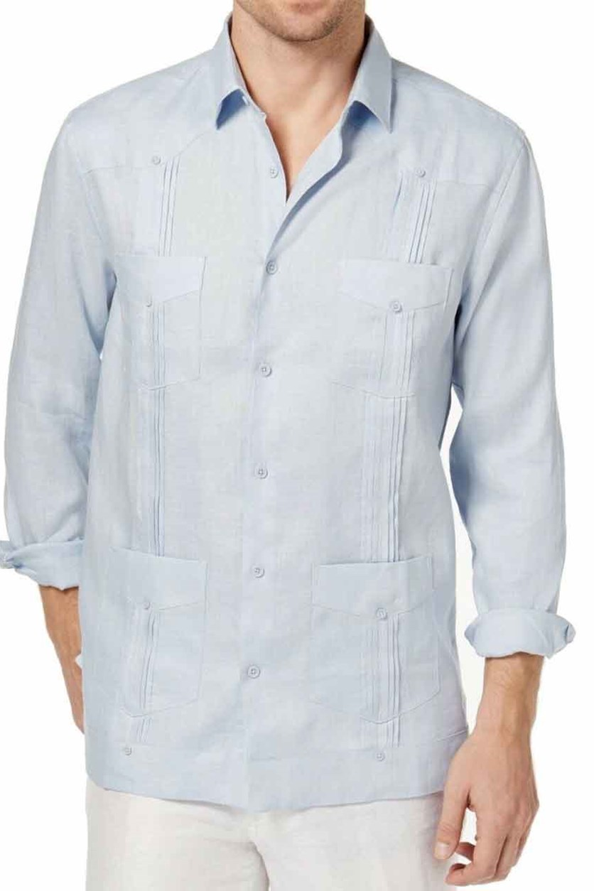 Men's Linen Guayabera Shirt, Billowing Cloud