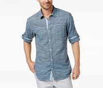 INC International Concepts Men's Chambray Shirt, Mountain Fog