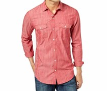 Inc International Concepts Men's Textured Chambray Shirt, Banner Red