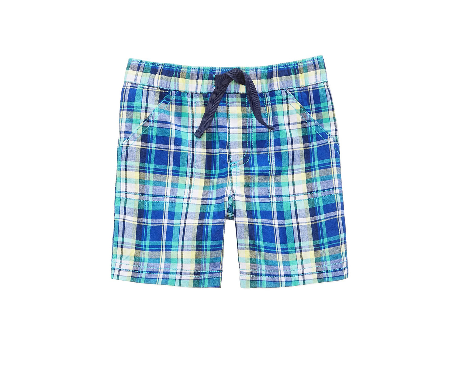 First Impressions Plaid Cotton Shorts, Caribbean Blue