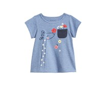 First Impressions Baby Girls Cotton Giraffe T-Shirt, Mistic Blue