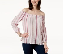 Charter Club Cotton Off-The-Shoulder Top, Rococo Rose Combo