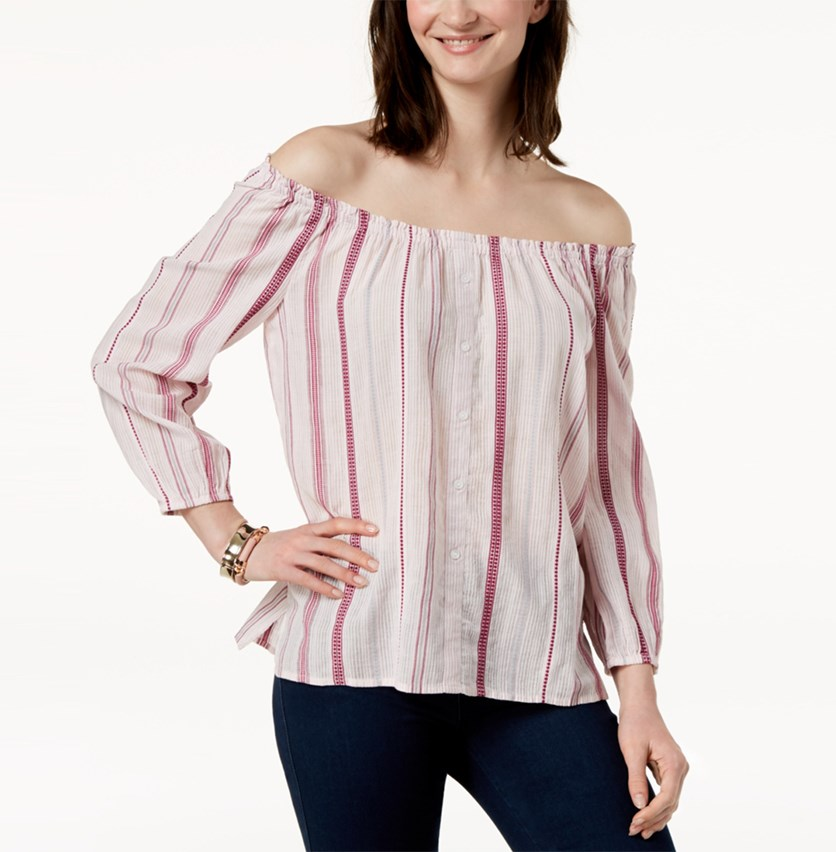 Cotton Off-The-Shoulder Top, Rococo Rose Combo