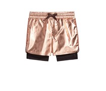Ideology Metallic Layered-Look Shorts, Rose Gold