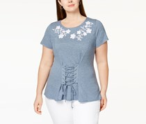 International Concepts Plus Size Corset T-Shirt, Chambray