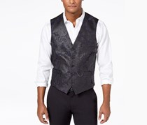 Inc Men's Slim-Fit Stretch Floral Brocade Vest With Pocket, Navy Blue Combo