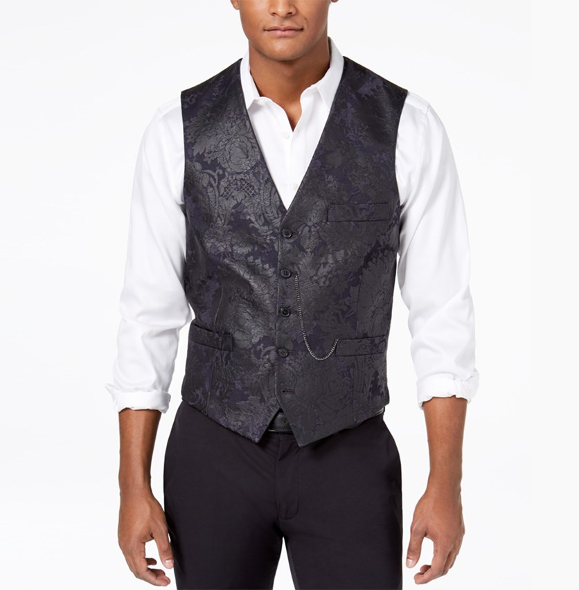 Men's Slim-Fit Stretch Floral Brocade Vest With Pocket, Navy Blue Combo