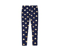 Epic Threads Girl's Gold Foil Hearts Printed Leggings, Medieval Blue