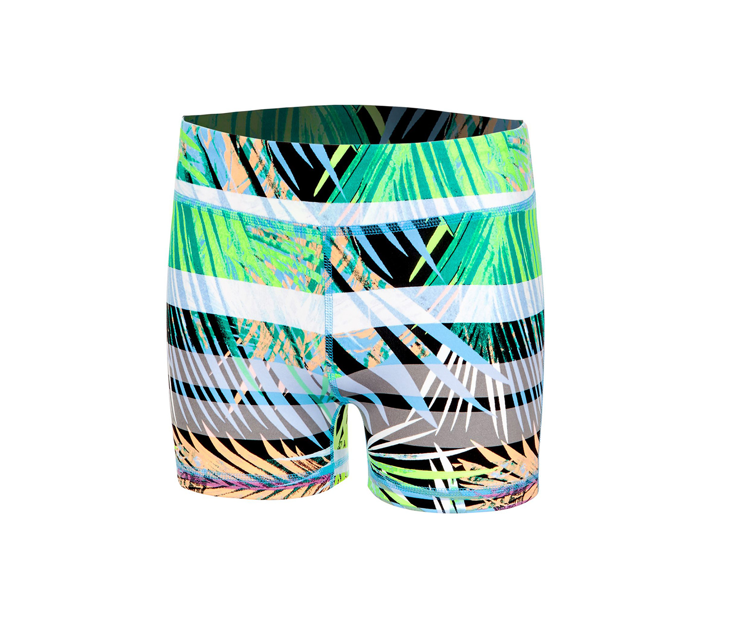 Ideology Palm-Print Compression Shorts, Neon Palms