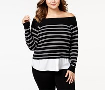 Inc International Concepts Plus Size Layered-Look Off-The-Shoulder Sweater, Deep Black
