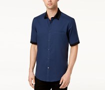 Alfani Men's Contrast Collar Shirt, Neo Navy