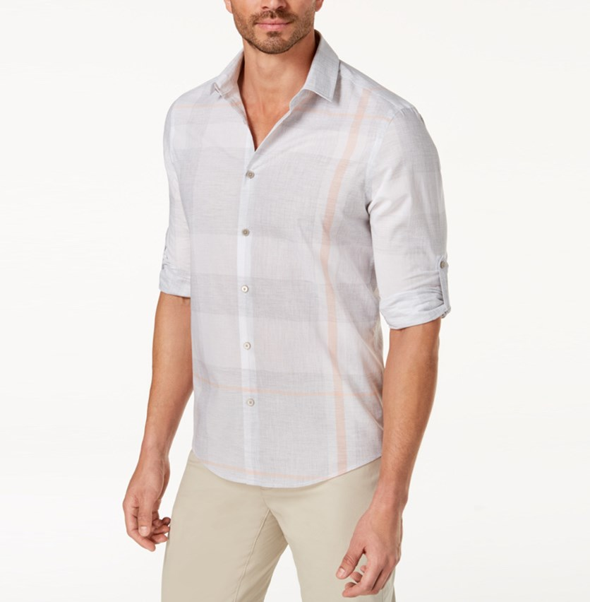 Men's Heathered Plaid Shirt, Grey