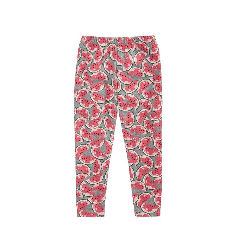 Watermelon-Print Leggings, Pewter Heather