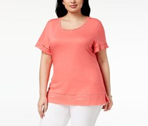 Karen Scott Plus Size Ladder-Inset T-Shirt, Peony Coral