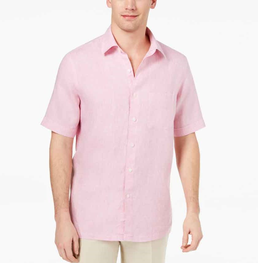Island Men's Cross-Dyed Linen Shirt, Pink Combo