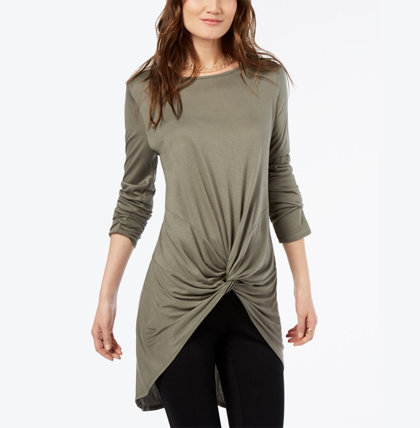 International Concepts Twist-Front Tunic, Olive