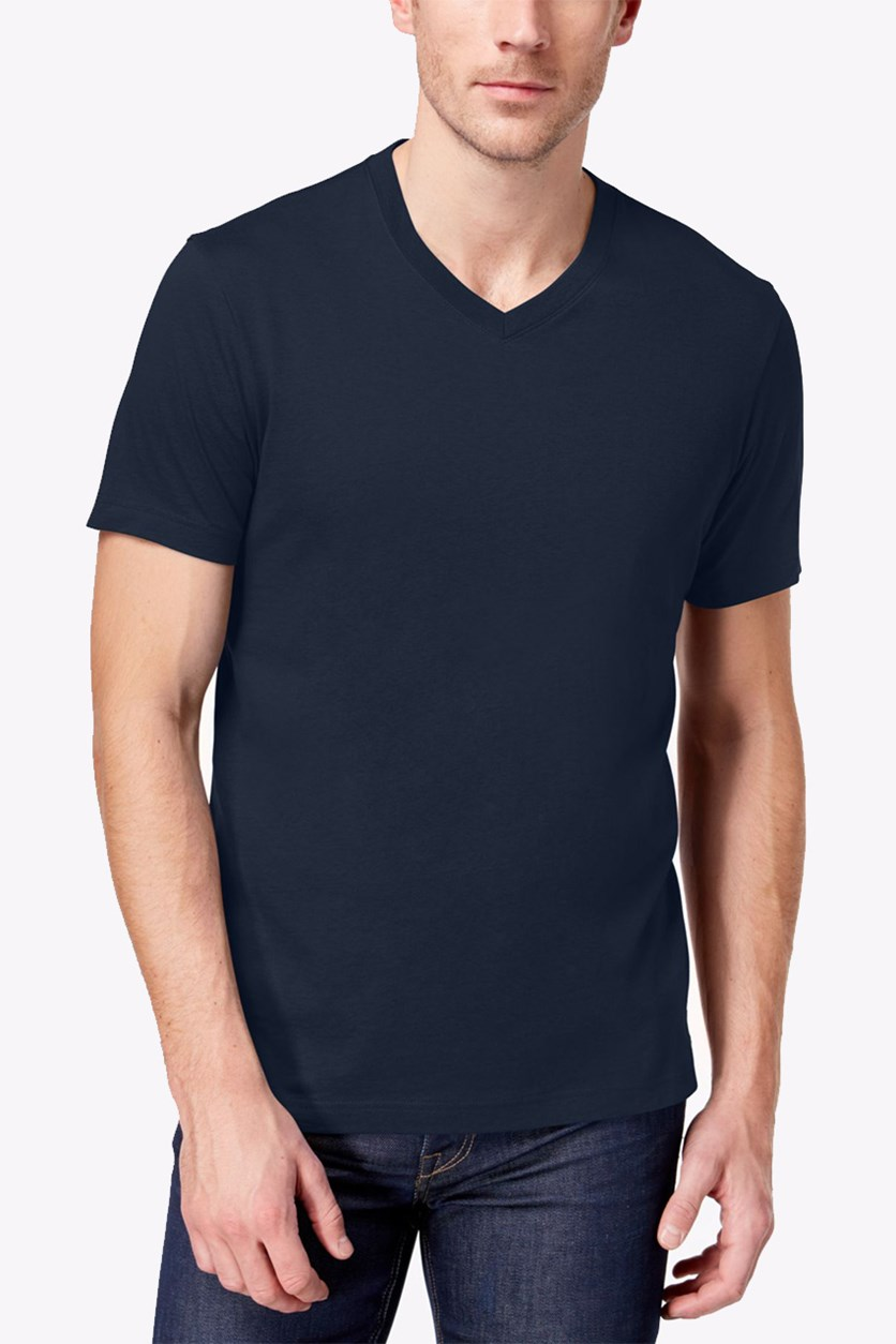 Men's Solid V-Neck T-Shirt, Navy