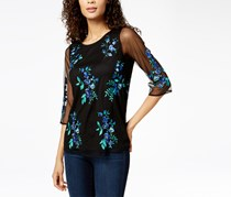 Charter Club Embroidered 3/4-Sleeve Top, Deep Black