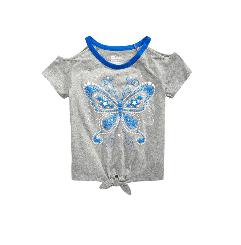 Girls Butterfly-Print T-Shirt, Pewter Heather