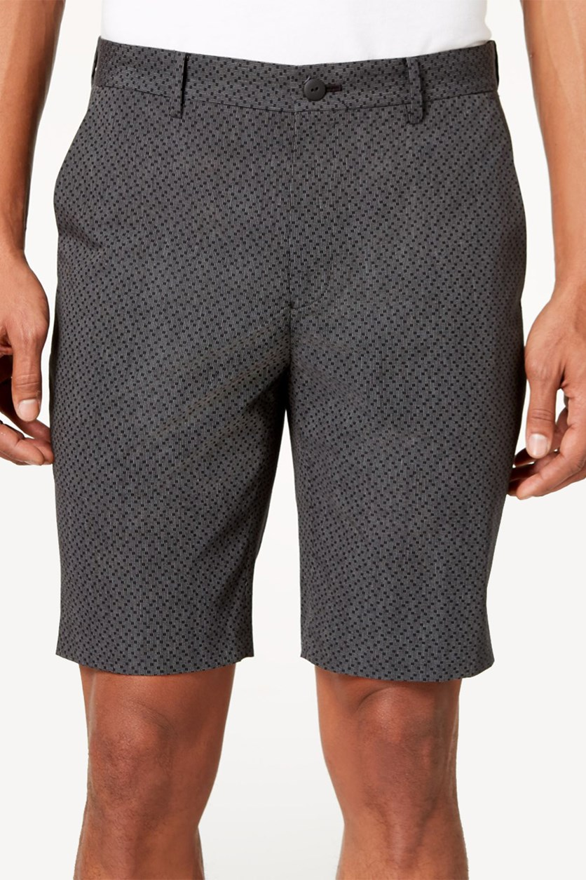 Men's Geometric Dobby Flat-Front Short,  Deep Black
